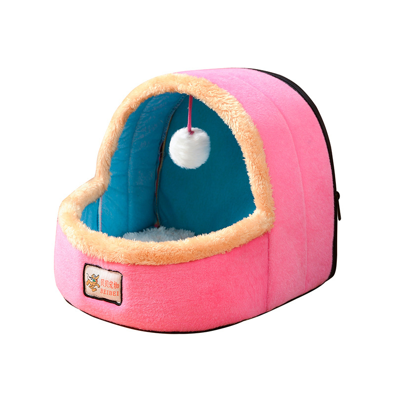Colorful Comfy Cat House Bed with Fur Ball