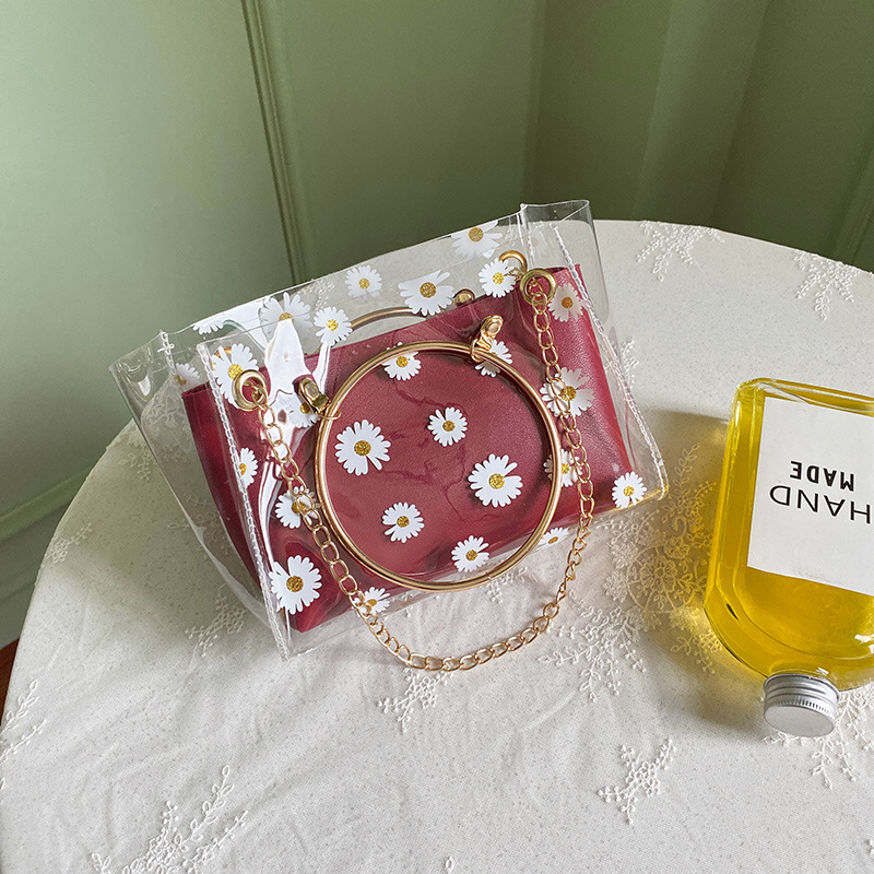 Daisies on Transparent Purse