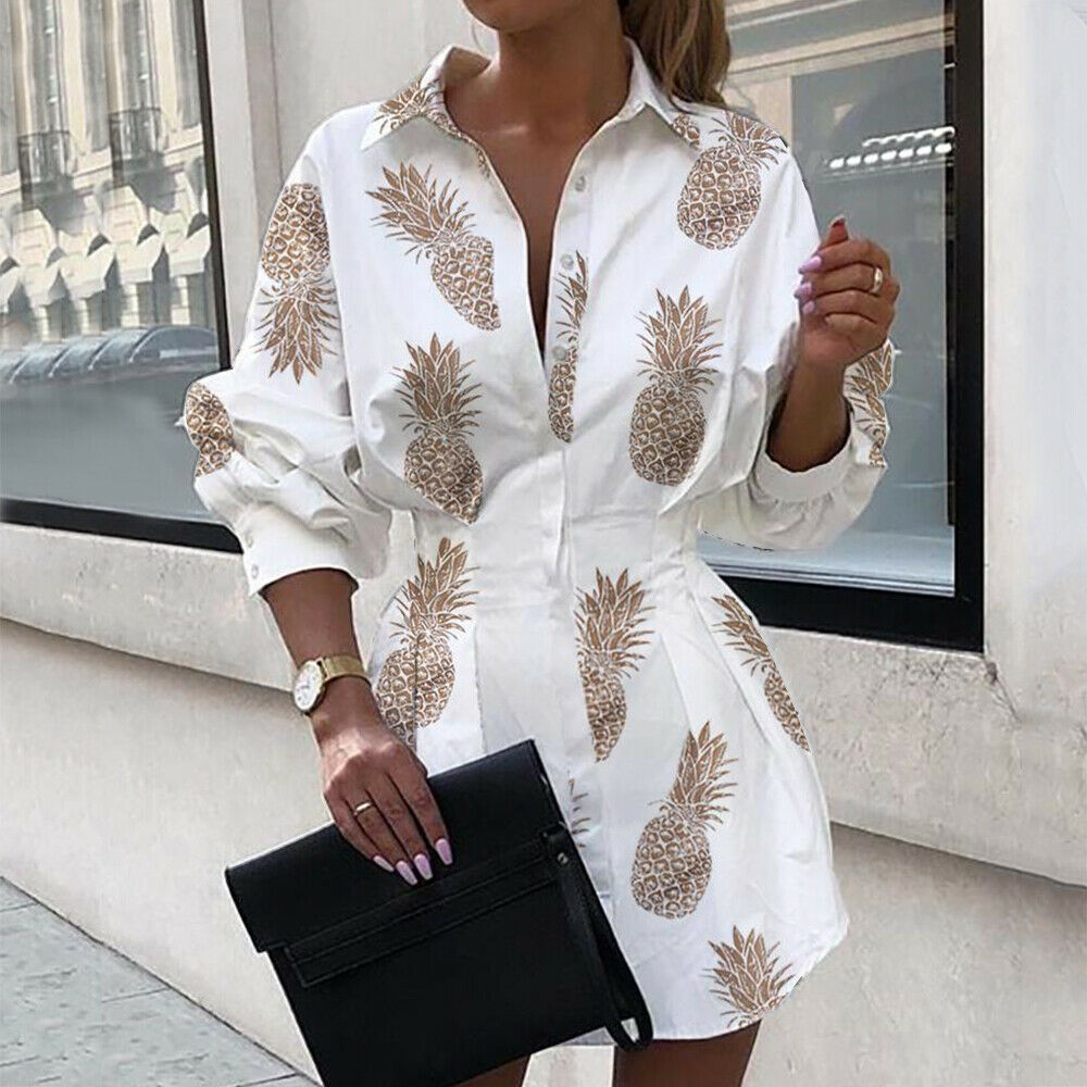 Exquisite Printed Bishop Sleeves Shirred Dress for Smart Office Look