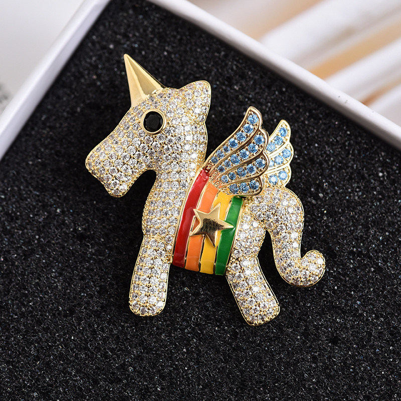 Merry Rainbow Unicorn Brooch for Pony Parties