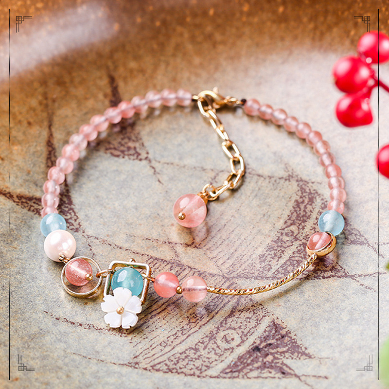 Pretty Candy Color Faux Crystal Anklet for Girls
