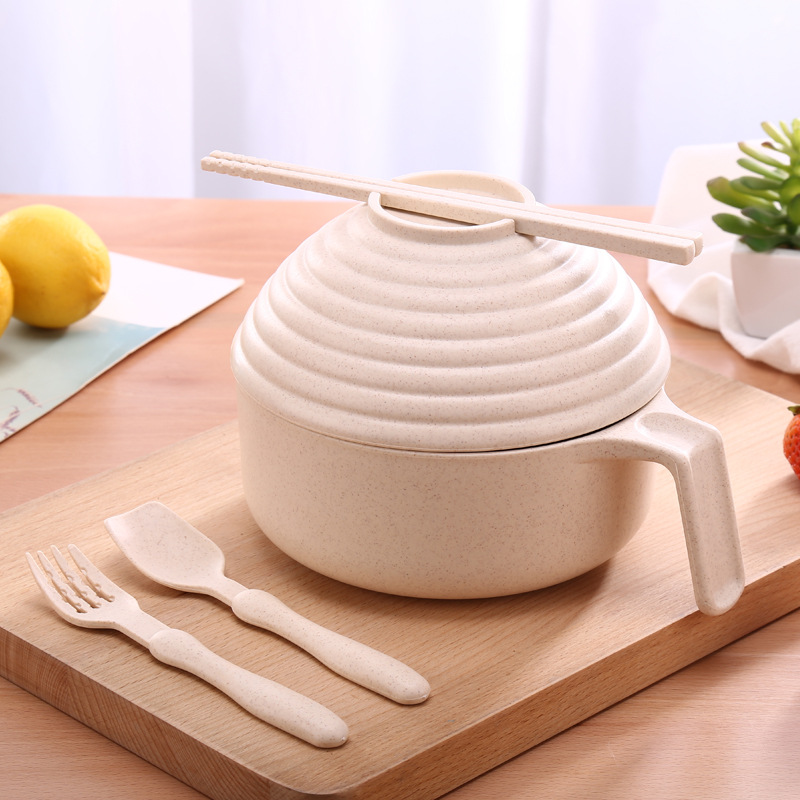 Five-piece Wheat Straw Noodles Bowl with Lid Set for Dining