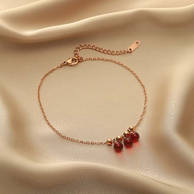 Red Beads and Golden Chain Anklet for Simple Pop of Color in Outfits
