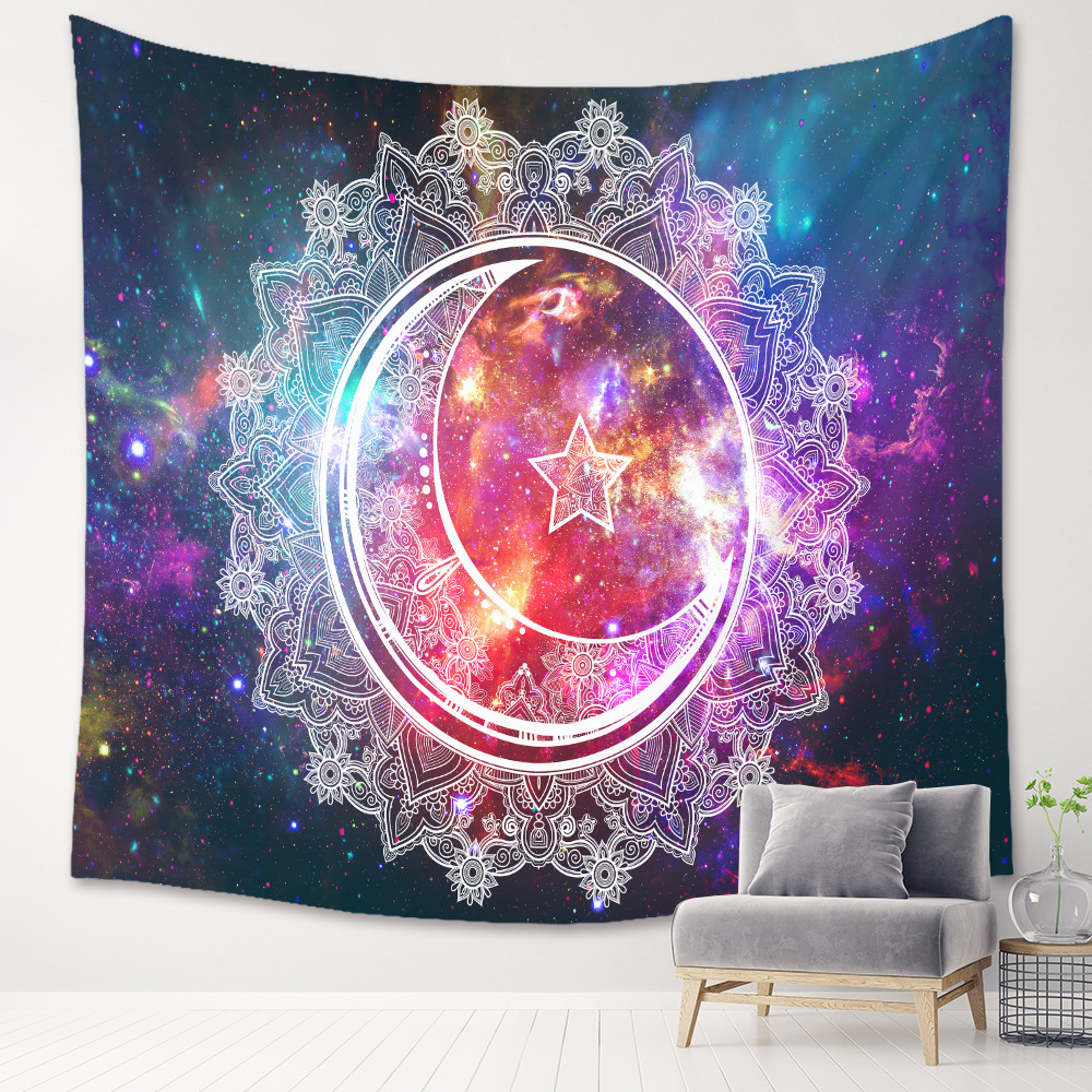 Colorful Starry Sky with Moon-Print Wall Art Decor for Gift on Special Occasions