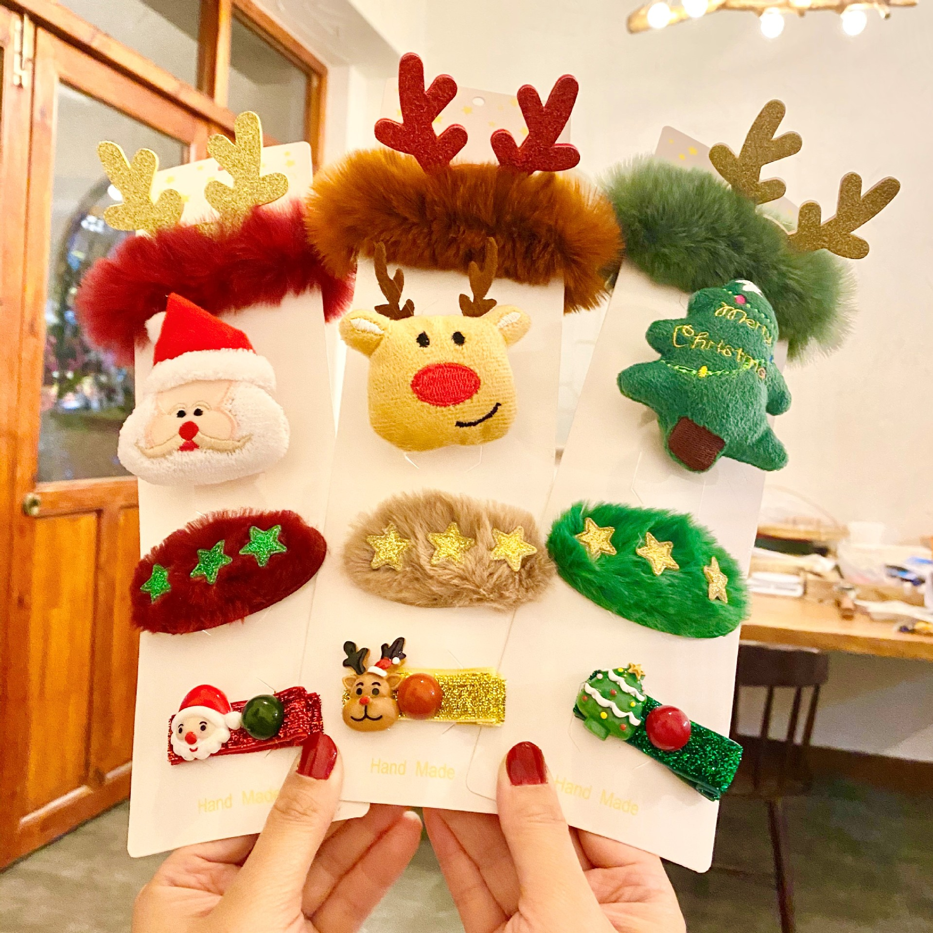 Nice Christmas Elements Brooch and Hair Clips for Christmas Gift