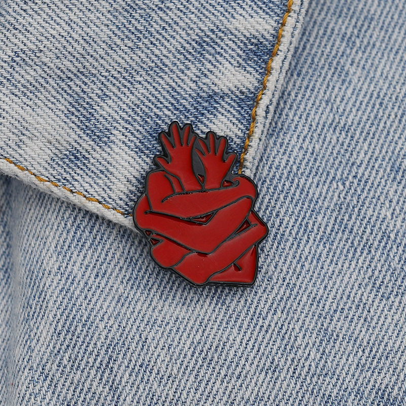 Unique Red Heart Shaped Arms Embracing Brooch for Modern Fashion