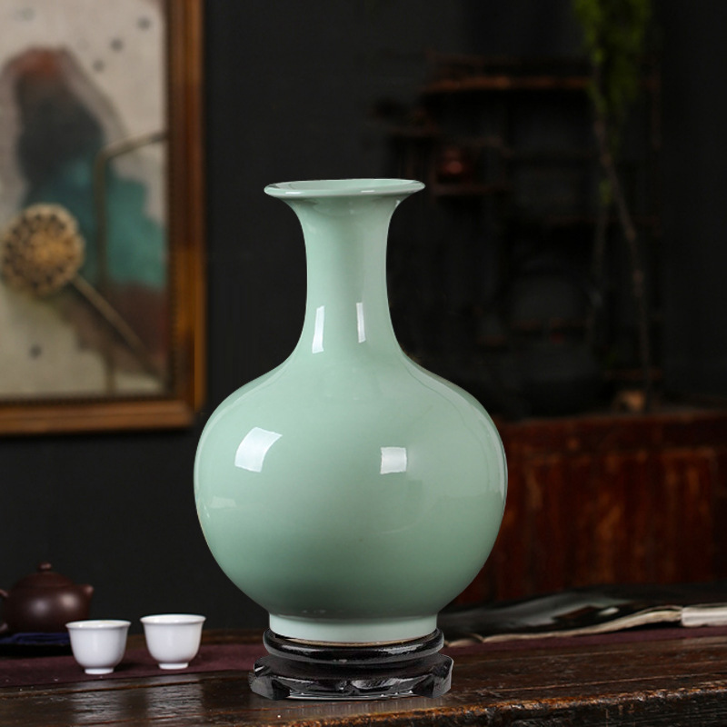 Glossy Teal Vases for Display and Holding Simple Flower Stems