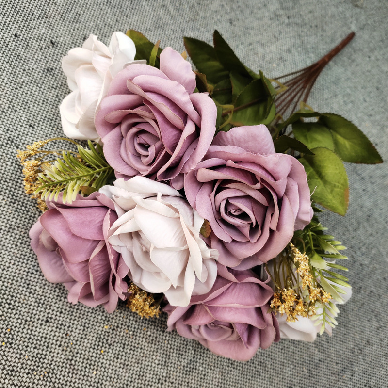 Bouquet of Artificial Full Bloom Roses Home Décor