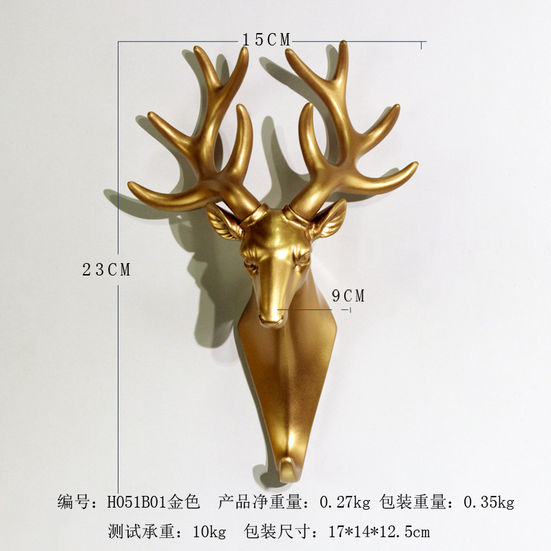 Golden Antlers Deer Head Wall Decor for Clubhouse
