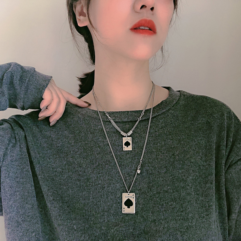 Sleek Ace of Spades Card Chain Necklace for Casual Arcade Date Attires