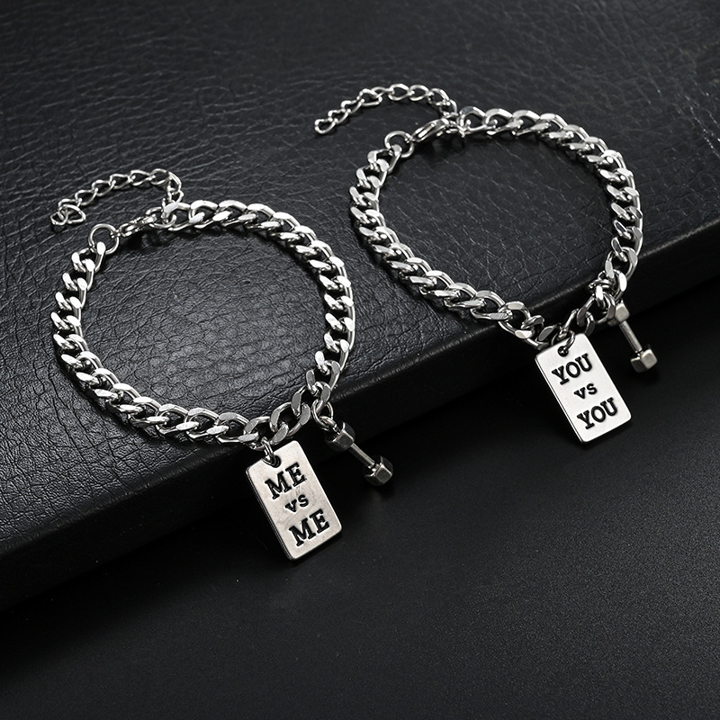 Silver Plated Chain Bracelet for Couple's Gift Idea
