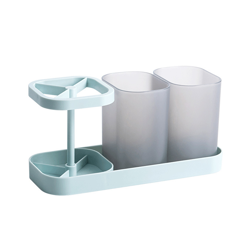 Space-Saver Bathroom Rack for Toothbrush and Mouthwash Cup