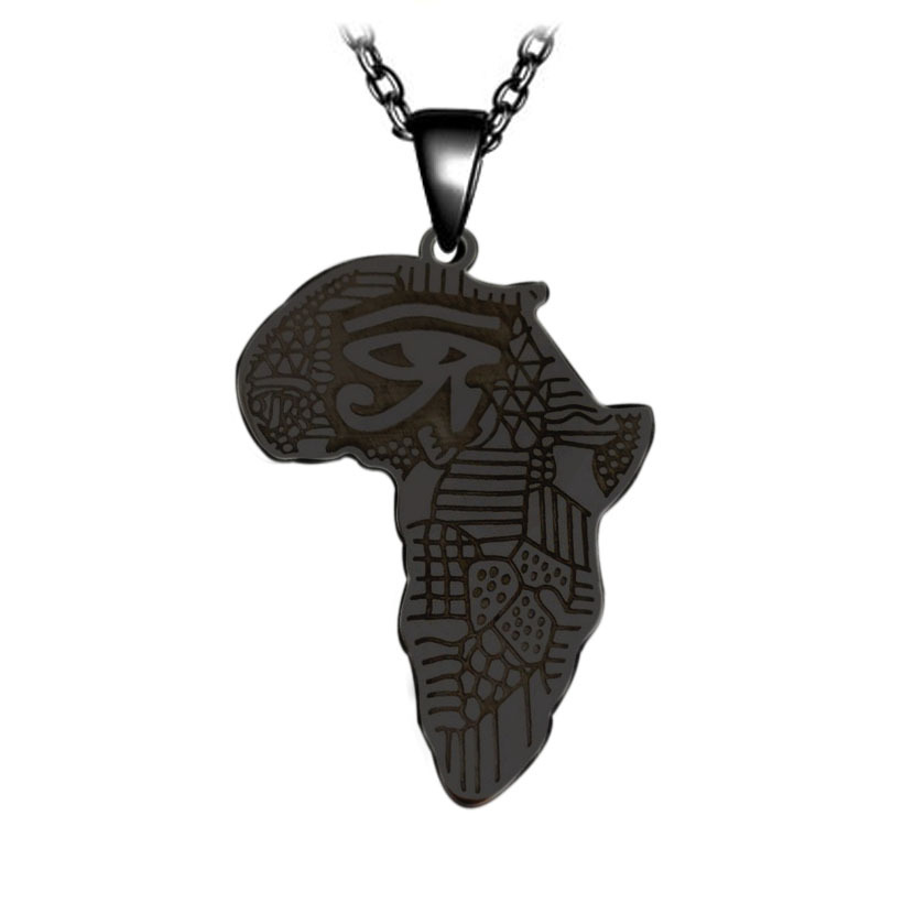 Stainless Steel Ancient Egypt Map Necklace for Historical Fashion