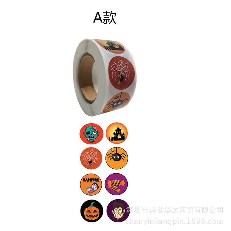 Spooky Halloween-Themed Sticker Roll for Halloween Party Invitations