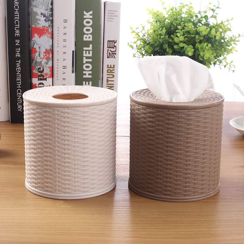 Circular Rattan Pattern Style Tissue Holder for Personal Tissue in Car