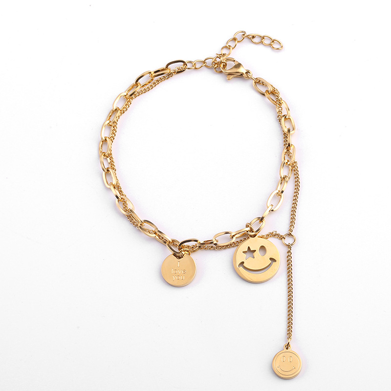 Retro Smiley Multilayer Chain Bracelet for Casual Wear