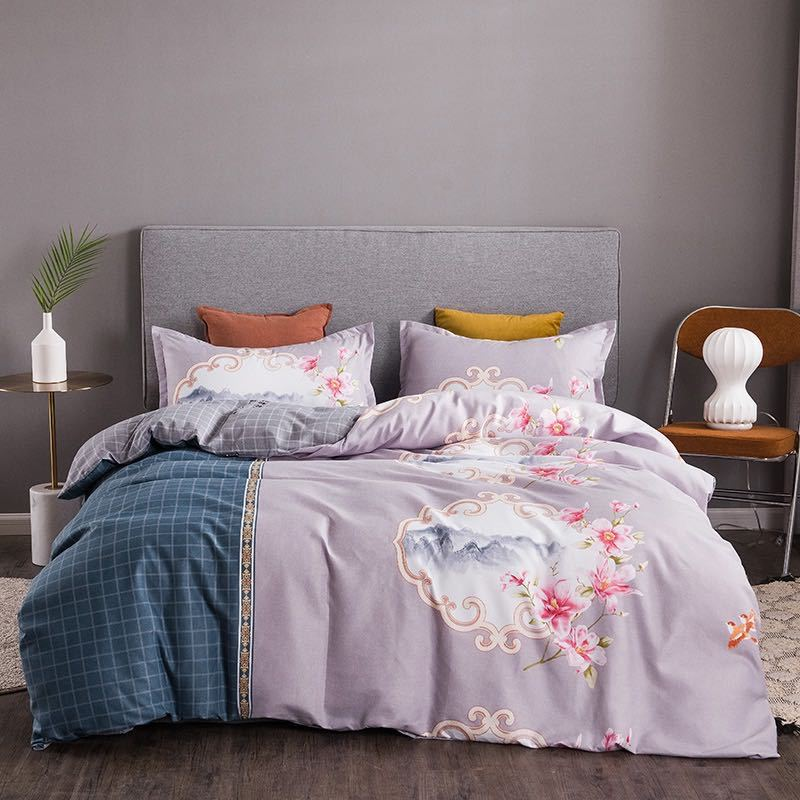 Two Tone Floral Bedding Set