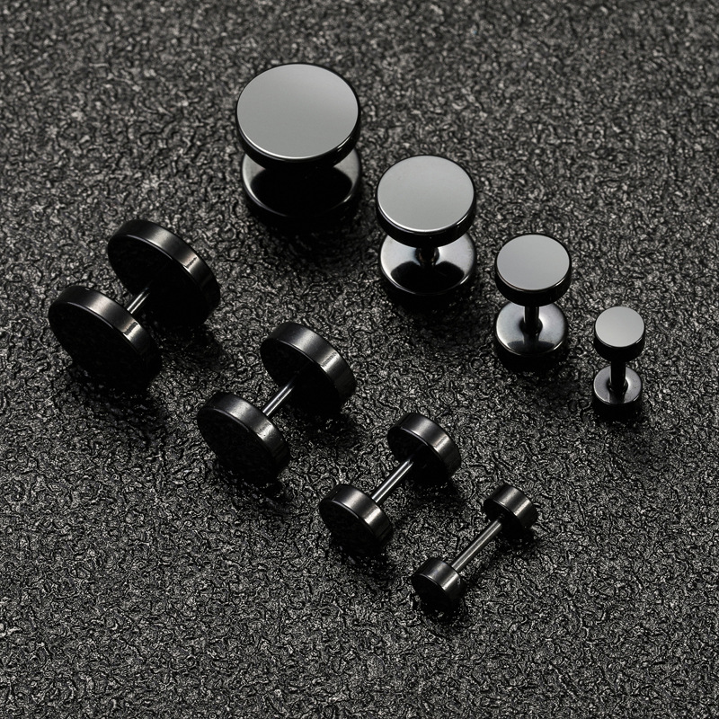 Black Bolt Dumbbell Earrings for Men and Women