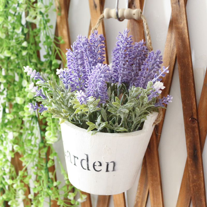 Artificial Plant with Small Wooden Bucket Pot for Table Decoration