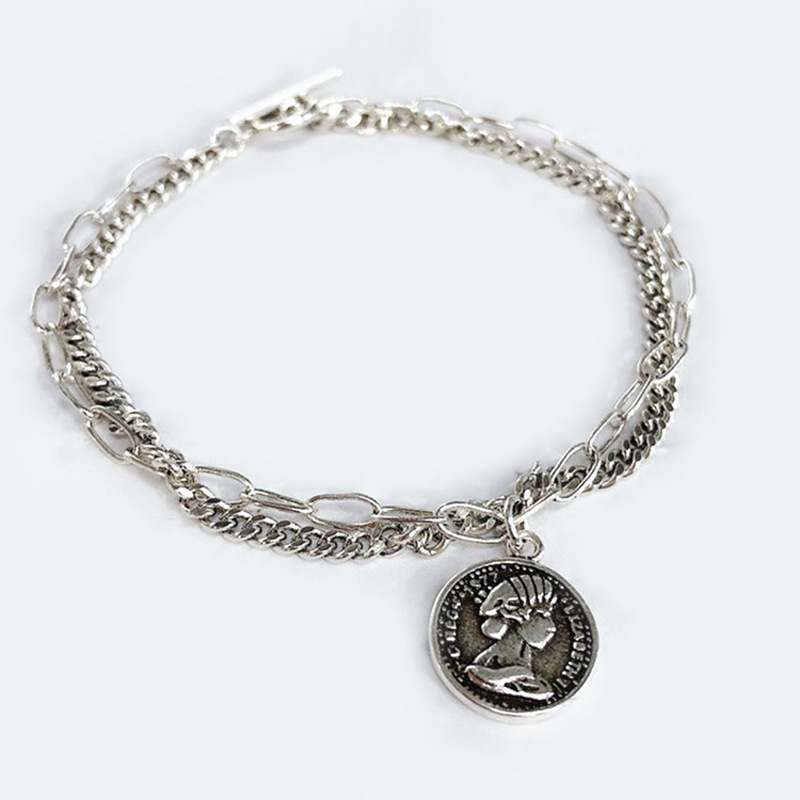 Metallic Coin Multilayer Chain Bracelet for Casual Wear