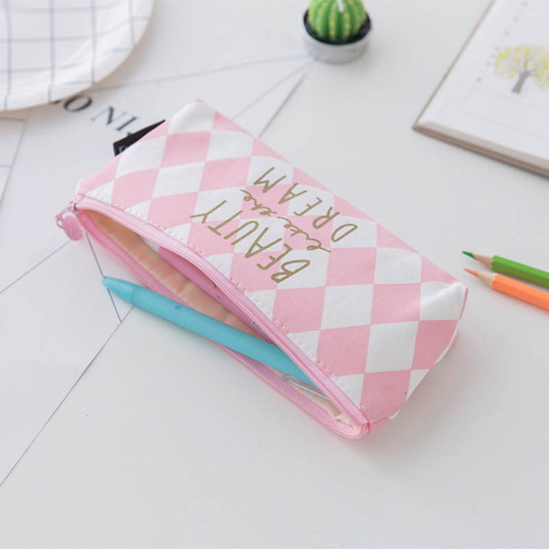 Simple Canvas Pencil Case for Teenage Girl