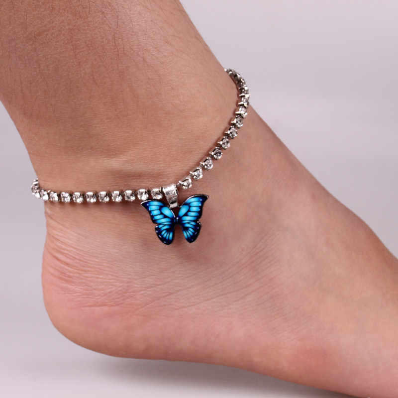 Whimsical Butterfly Faux Rhinestone Studded Anklet for Sun Dresses