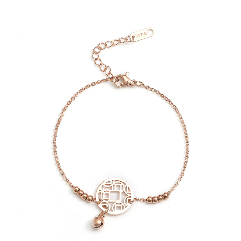 Single Coin and Bell Rose Gold Anklet