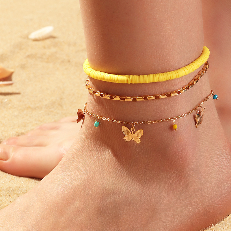 Three-Layer Butterfly and Box Chain with Plain Yellow Anklet for Ladies