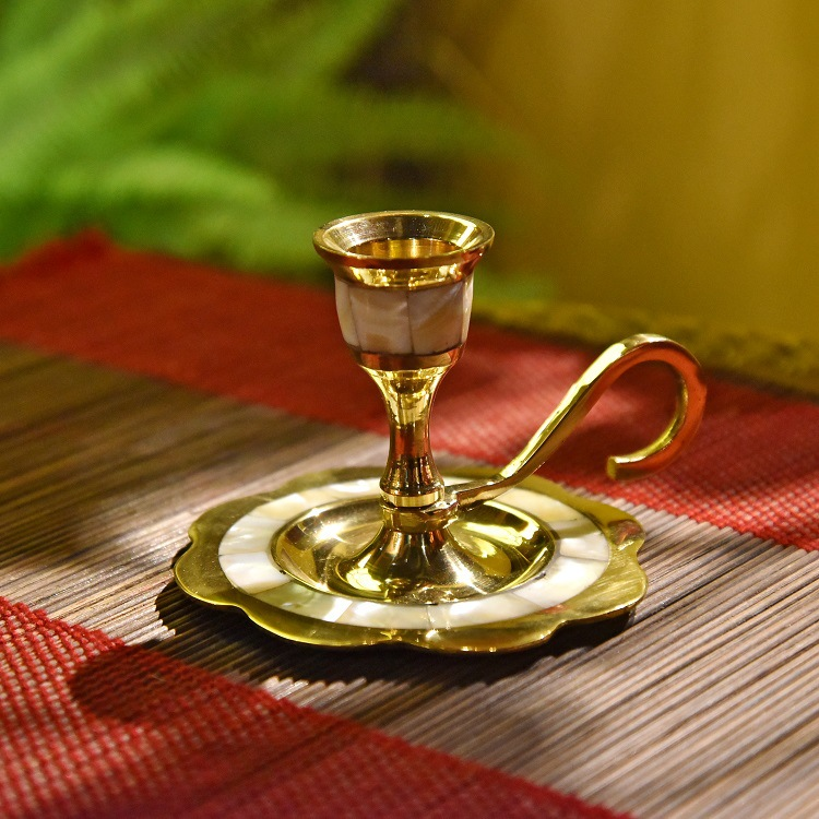 Amazing Brass Inlaid Shell Decorative Candlesticks Holder for Gift Giving