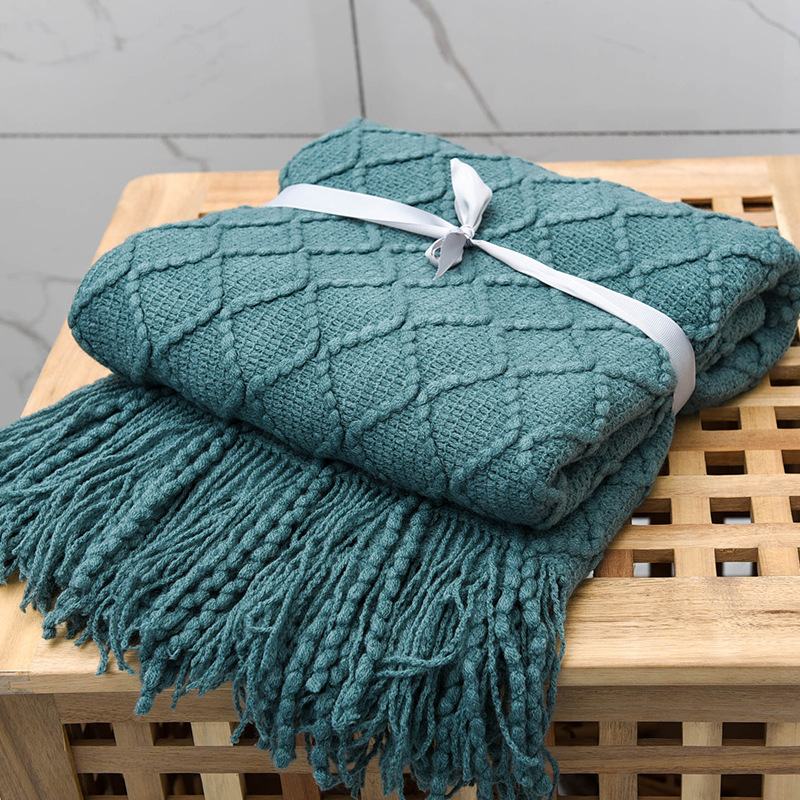 Skin-Friendly Knitted Blanket With Tassel for Sofa Decoration