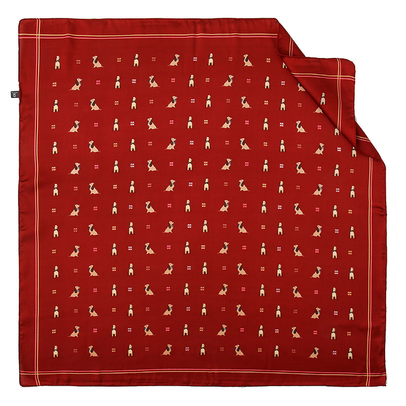All-Over Dog Print Artificial Silk Square Scarf for Creating Posh Yet Fun Outfits