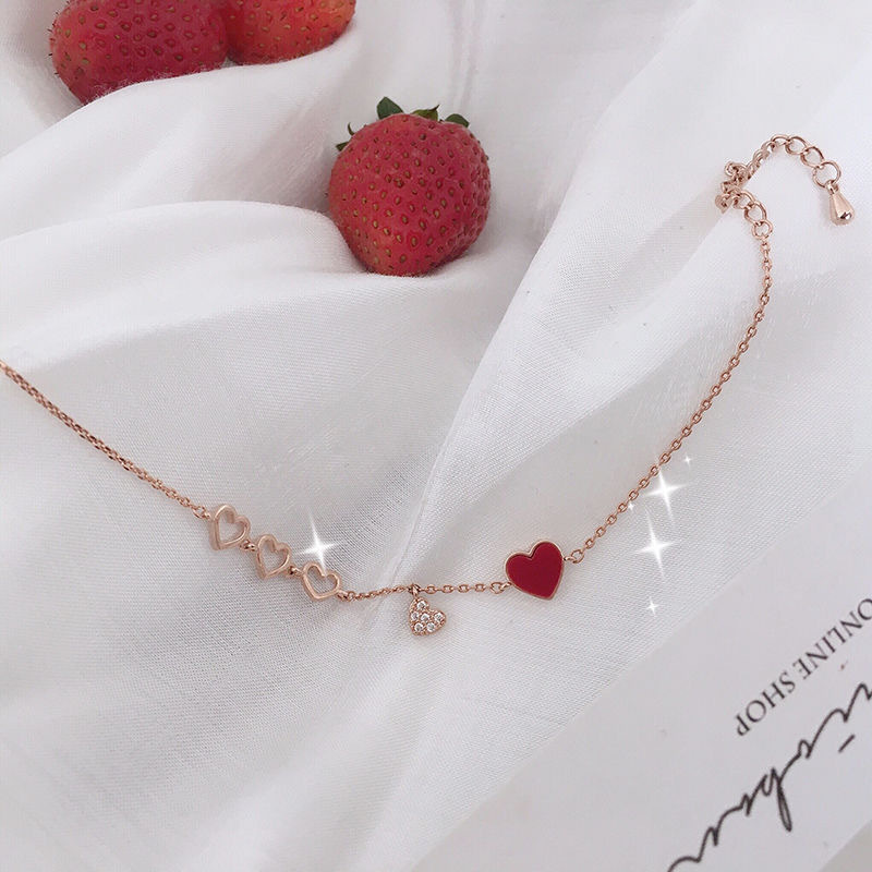 Minimalist Red and White Heart Shaped Bracelet for Women