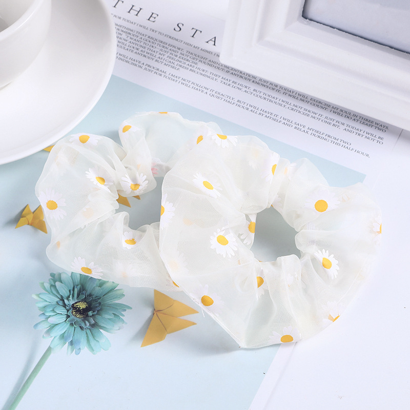 Translucent Cloth with Daisy Print Scrunchies for Flower Lovers