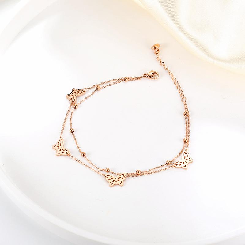 Two-Layer Butterfly Anklet