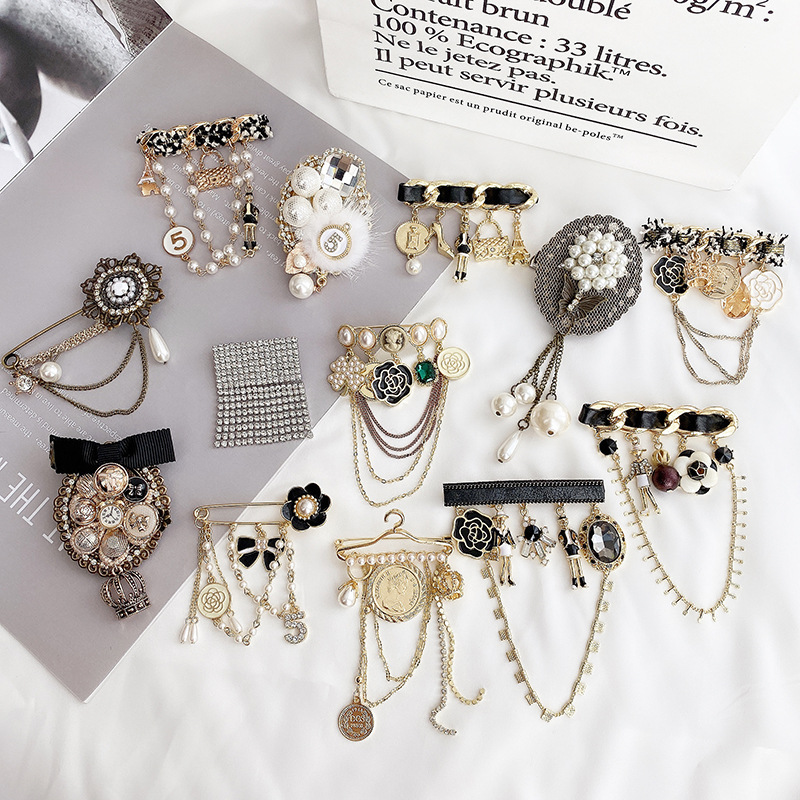Black and Gold Glamour Pin Collection for Romantic Chic Looks