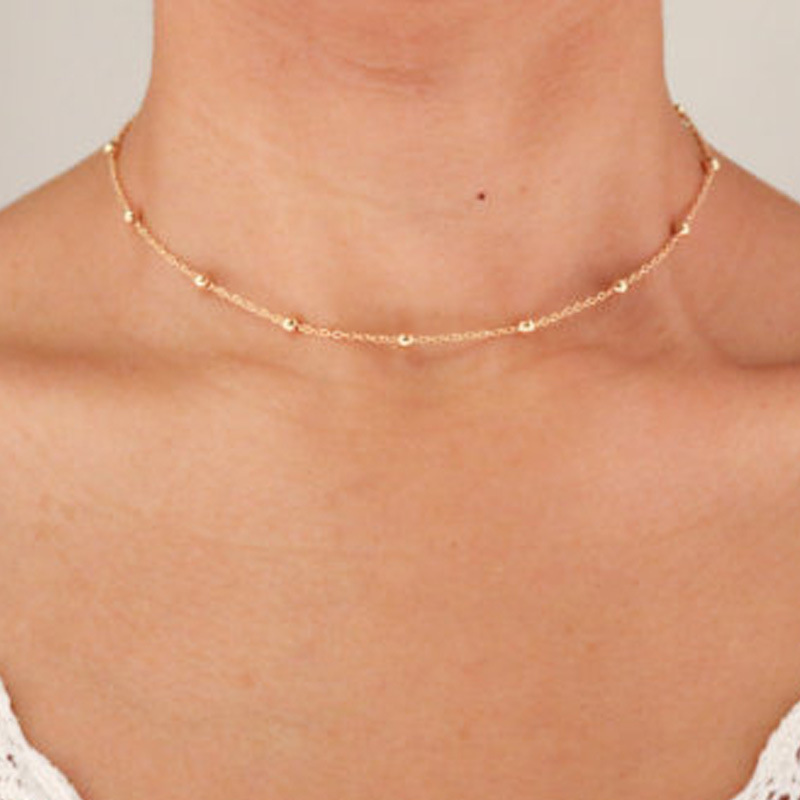 Golden Bead and Cable Dainty Chain Choker