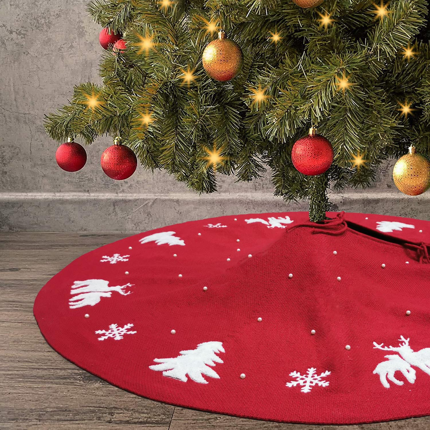 Beautiful Embroidered and Beaded Christmas Tree Skirt for Exchanged Gifts