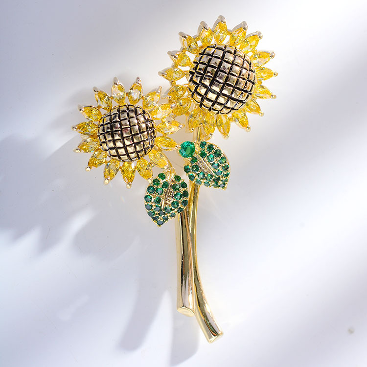 Dainty Bejeweled Sunflower Pin for Clothes