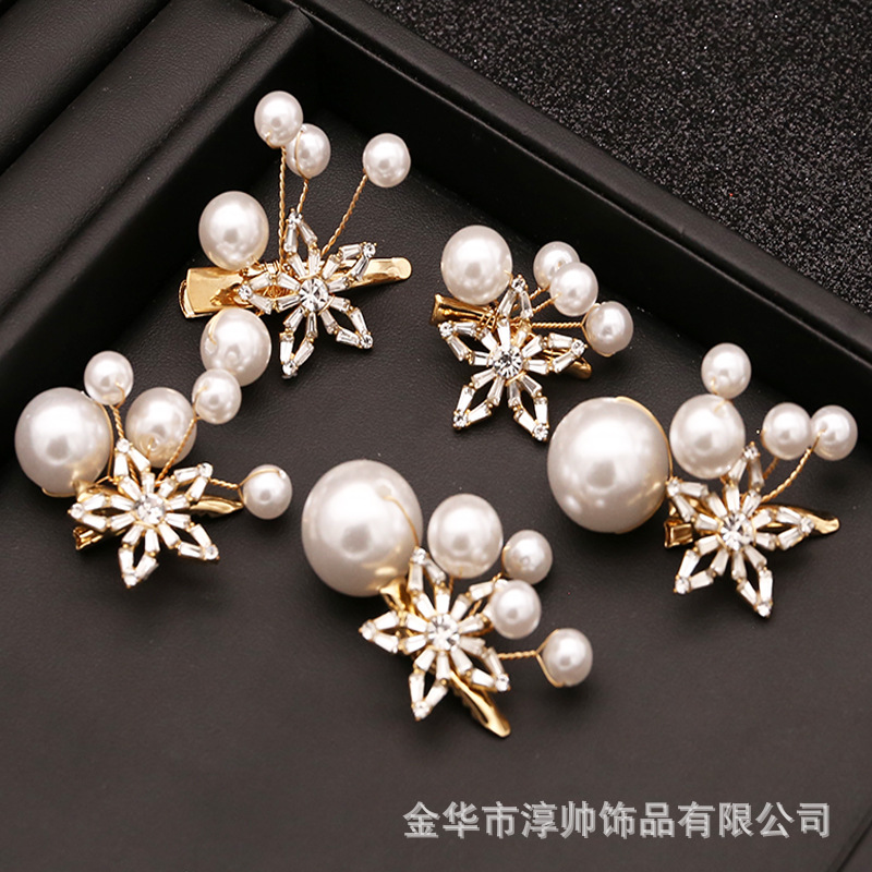 Martine Faux Pearl Golden Hairclips