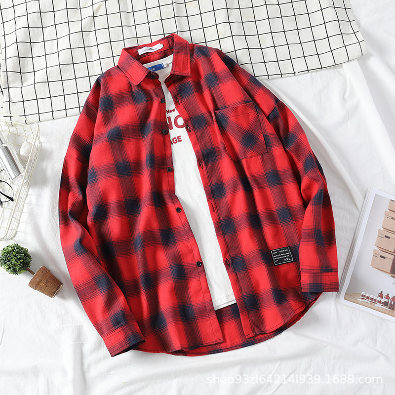 Vivid Check Plaid Loose-Fit Long Sleeve Straight Point Collar Polyester Button-Up for Weekend Travels
