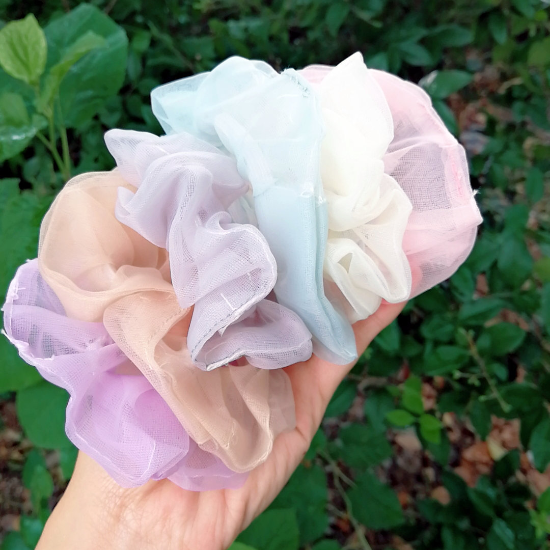 Cute Pastel Colors Mesh Scrunchies for Business Giveaways