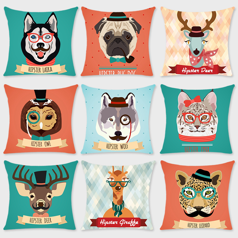 Vibrant Animated Animals Print Pillowcase for Pillows