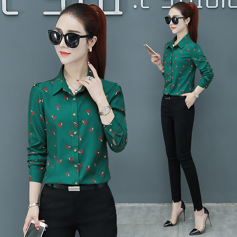Casual Printed Cuffed Sleeves Button-Up for Office Wear