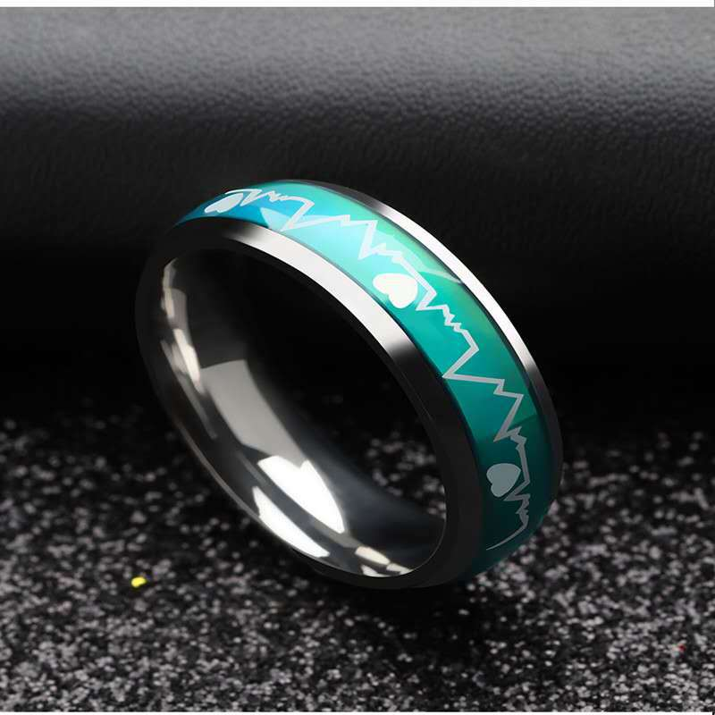 Attractive ECG Color-Changing Heartbeat Ring for Couple Ring