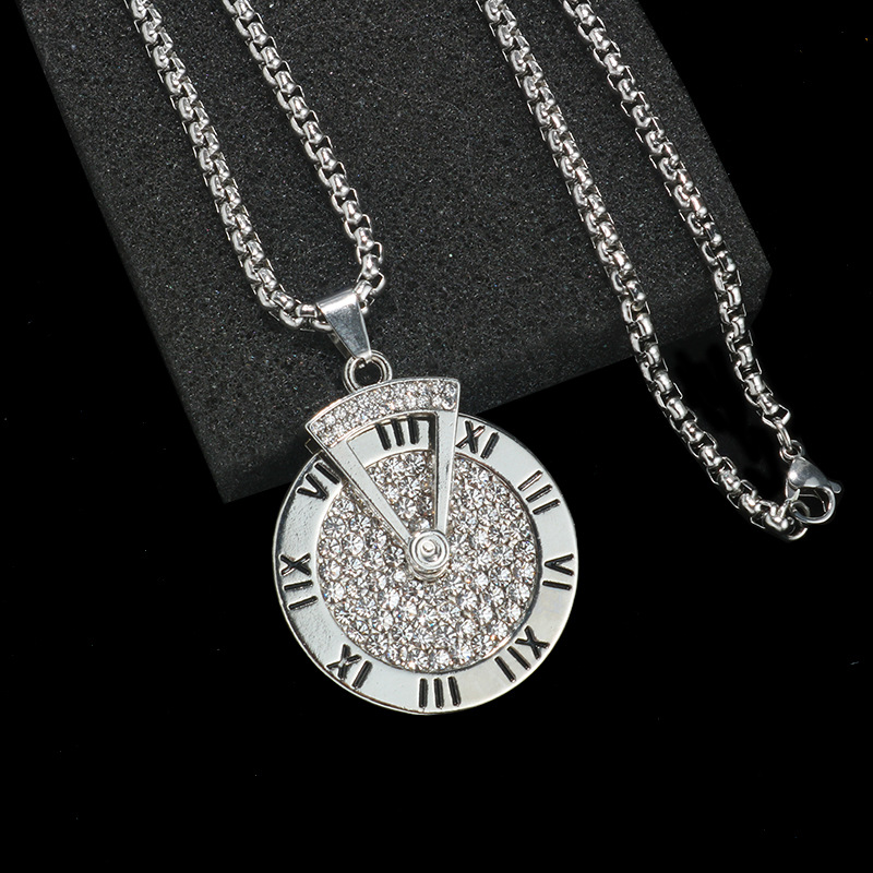 Titanium Steel Time Disc Pendant Necklace for Timeless Fashion