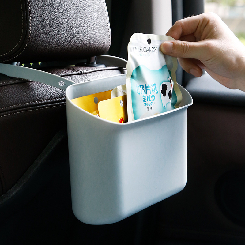 Multi-functional Hanging Storage Box for Car's Back Seat Trash Can