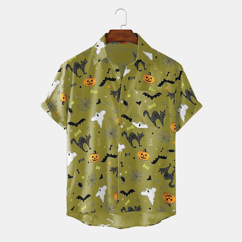 Wicked And Creepy Style Print Loose Short Sleeve Shirt for Halloween Party