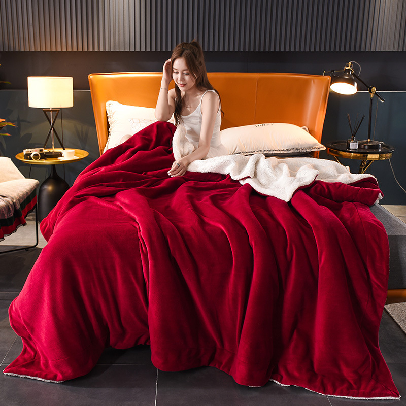 Single Color Double Layer Thick Blanket