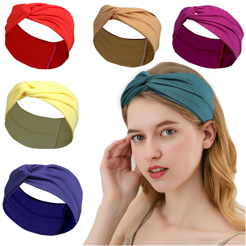 Simple Cross Solid Color Cloth Headband for Keeping Hair in Place