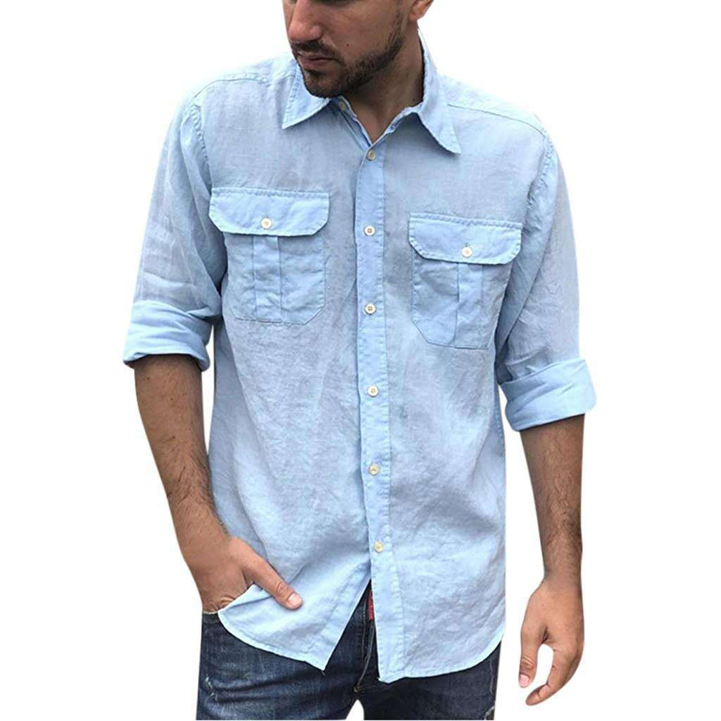 Wrinkly Two Pocket Roll Up Sleeve Shirt for Casual Fashion
